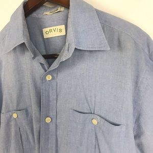 Orvis Mens Button Front Shirt w/Pockets Size Large